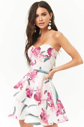 Forever 21 Floral Tube Illusion Fit & Flare Dress