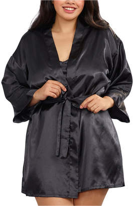 Dreamgirl Plus Size Satin Robe and Chemise Set