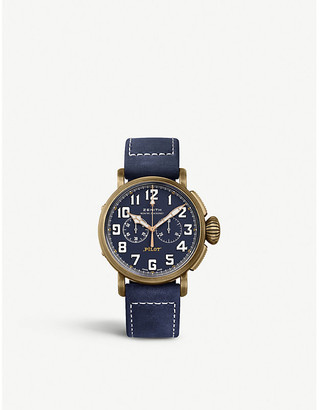 Zenith 29.2430.4069/57.C808 Pilot Type 20 bronze and leather chronograph watch