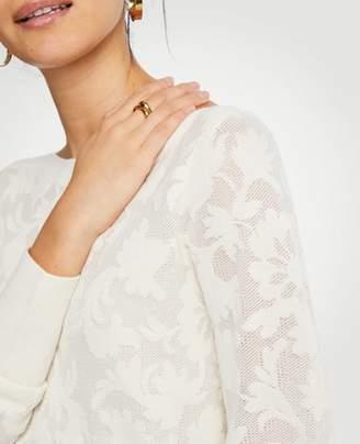 Ann Taylor Floral Jacquard Boatneck Sweater