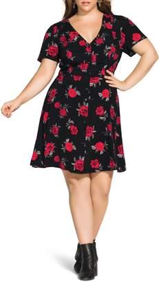 City Chic Rosie Posie Belted A-Line Dress