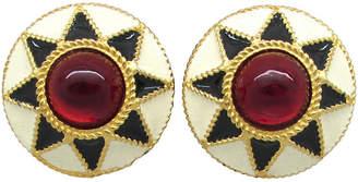 One Kings Lane Vintage Yosca Enamel & Red Glass Earrings