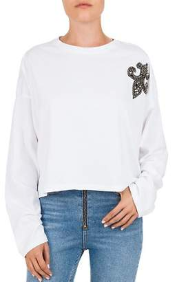 The Kooples Fleur-de-Lis Embellished Long-Sleeve Cotton Tee
