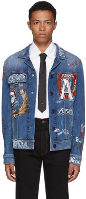 Dolce & Gabbana Blue Denim Drawing Jacket