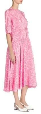 Marni Women's Printed Drop-Waist Midi Dress - Pink - Size 46 (10)