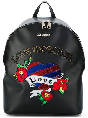 Love Moschino sequin embroidered backpack