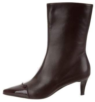Salvatore Ferragamo Leather Pointed-Toe Mid-Calf Boots