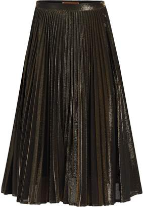 Jolie Moi Metallic Pleated A-Line Skirt