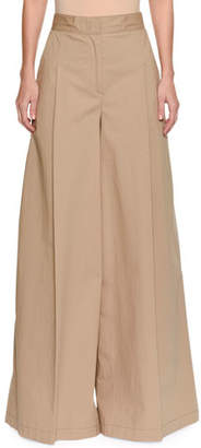 MSGM High-Waist Wide-Leg Cotton Trousers