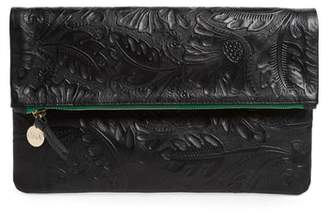 Clare Vivier Flower Embossed Foldover Leather Clutch