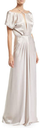 Zac Posen Perry Open-Back Halter Gown