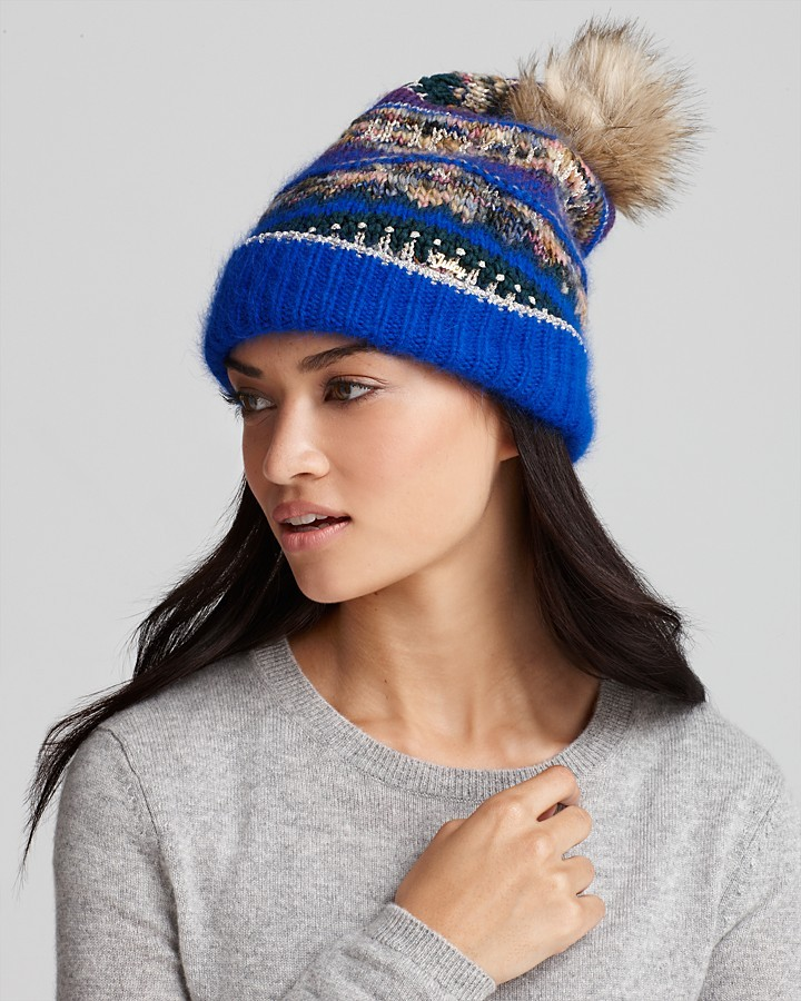 Juicy Couture Luxe Jacquard Beanie With Faux Fur Pom