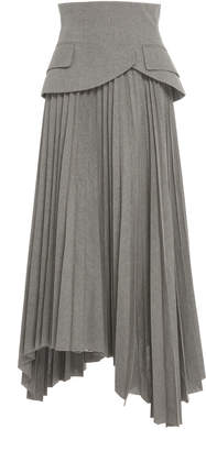 Awake Pleated Peplum Cotton Midi Skirt Size: 40