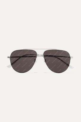 Balenciaga Invisible Printed Aviator-style Silver-tone Sunglasses