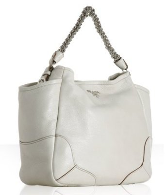 Prada ivory glazed deerskin dual pocket bag