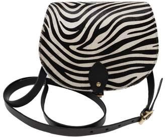 N'Damus London - Zebra Print Full Grain Leather Saddle Bag In Black
