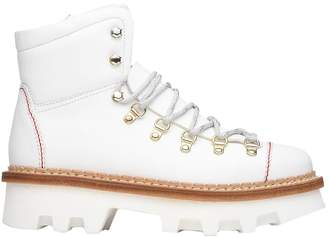 Barracuda White Leather Ankle Boots
