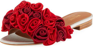 Malone Souliers Satin Rosette One-Band Slide Sandal