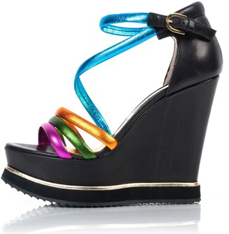 Kim Kwang Colourful Sporty Wedge Sandals Black