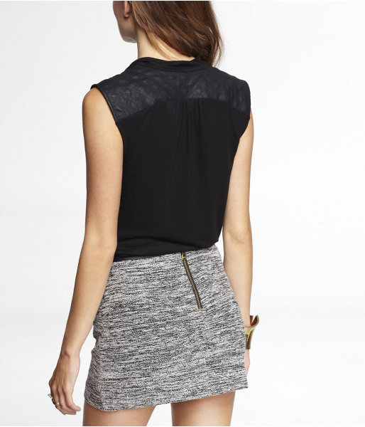 Express Quilted (Minus The) Leather Yoke Drape Neck Tank