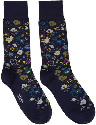 Paul Smith Navy Decoupage Floral Socks