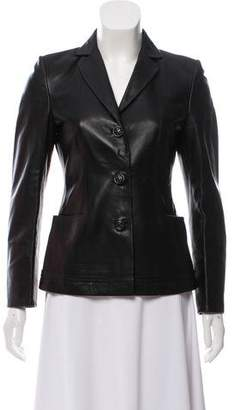 Salvatore Ferragamo Leather Notch-Lapel Jacket
