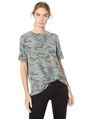 Michael Stars Women's Brushed camo Short Sleeve Crew with Slits