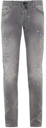 Jacob Cohen Distressed Mid Rise Slim Leg Jeans - Mens - Grey