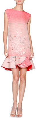 Giorgio Armani Birds of Paradise Flounce-Hem Dress, Red Multi $4,200 thestylecure.com
