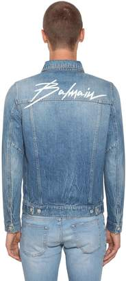 Balmain Logo Embroidered Cotton Denim Jacket