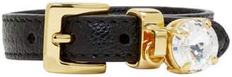 Miu Miu Black Leather Crystal Bracelet