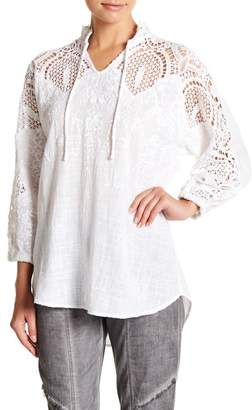 XCVI Jill Crochet Yoke Split Neck Blouse