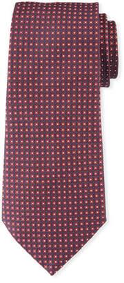 Emporio Armani Neat Small Square Silk Tie, Dark Red