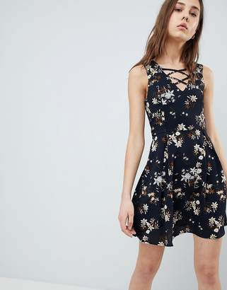 Qed London QED London Floral Skater Dress With Lace Up Detail