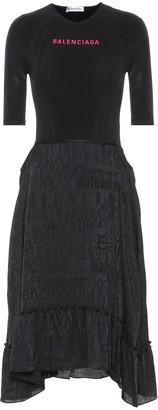 Balenciaga Asymmetric jersey midi dress