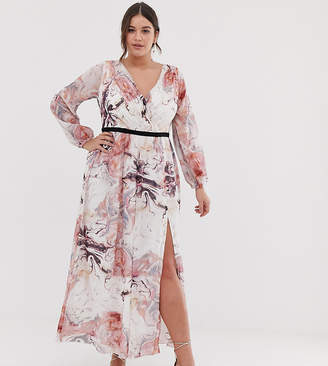 6ee195657fc59 Little Mistress Plus plunge front long sleeve maxi dress in floral print