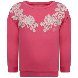 GUESS GuessGirls Fuchsia Floral Embroidered Sweater