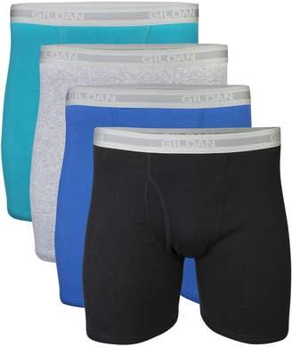 Gildan Men's Regular Leg Boxer Briefs, Black, 4 Pack