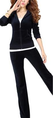 Gabbriell Women's Velour Hoodie+Pant Tracksuit Sport Sweat Suit Set 2 Pcs
