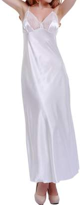 LAPAYA Women's Satin Slip Dress Lace Trim V Neck Full Length Camisole Nightgowns