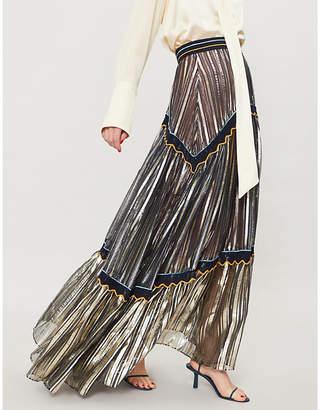 Peter Pilotto Striped metallic silk-blend skirt