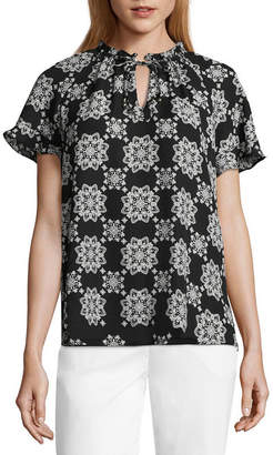 Liz Claiborne Short Sleeve Ruffle Top - Tall