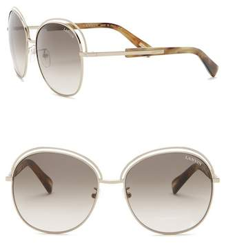 Lanvin 58mm Round with Metal Acetate Sunglasses