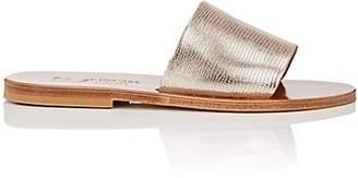 K. Jacques Women's Monza Suede Slide Sandals - Silver Size 8