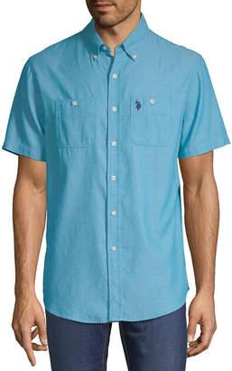 U.S. Polo Assn. USPA Mens Short Sleeve Striped Button-Front Shirt