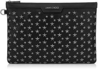 Jimmy Choo DEREK Black Biker Leather Document Holder with Gunmetal Stars