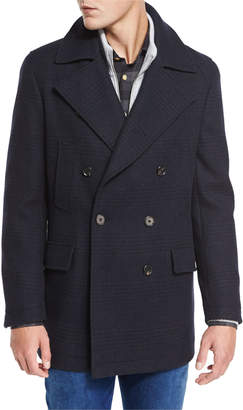 Neiman Marcus Plaid Wool Pea Coat, Navy