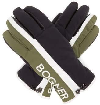 Bogner Feli Logo Print Ski Gloves - Womens - Khaki