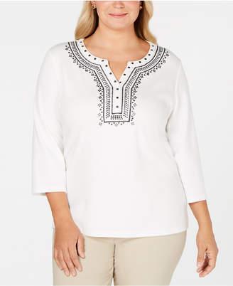 Karen Scott Plus Size Embellished Split-Neck Top