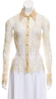 Valentino Sheer Lace Button-Down